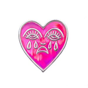 Crying Heart Pink Holographic Patch