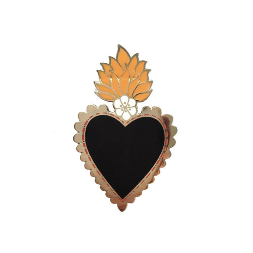 Mexican Sacred Heart Pin - Black