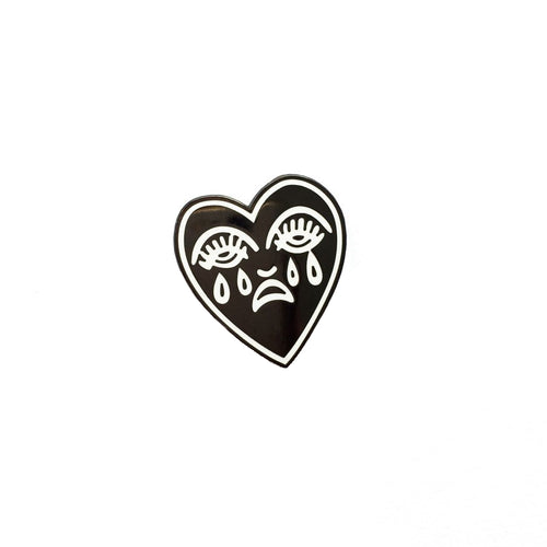 Crying Heart Pin - Black