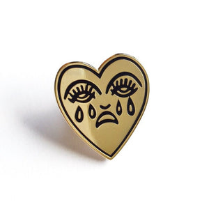 Crying Heart Enamel Pin - Gold