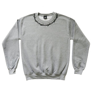 Barbed Wire Embroidered Sweater - GREY