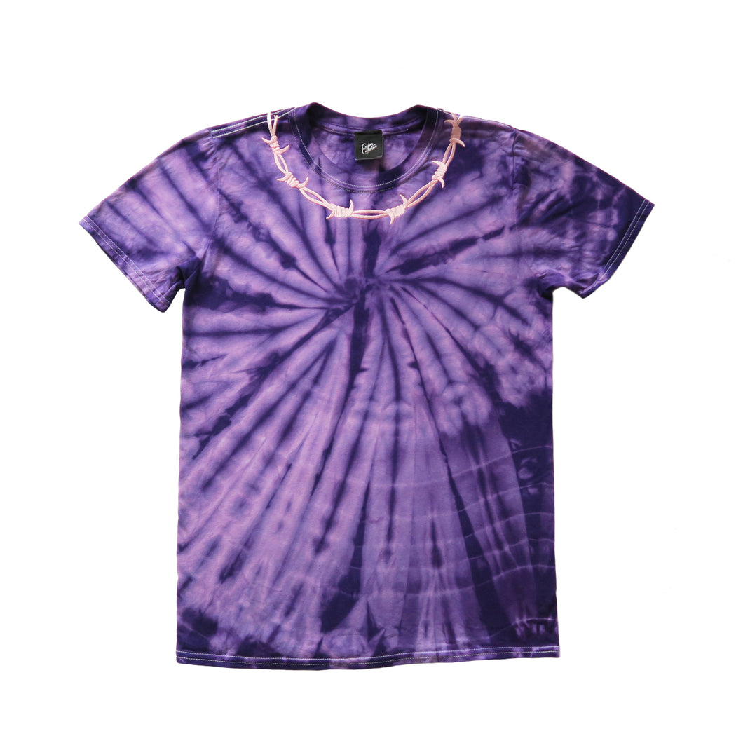 Barbed Wire Embroidered Tie Dye T-shirt