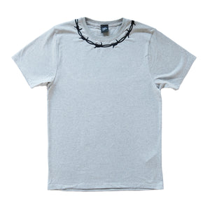 GREY Barbed Wire Embroidered Short Sleeve T-shirt