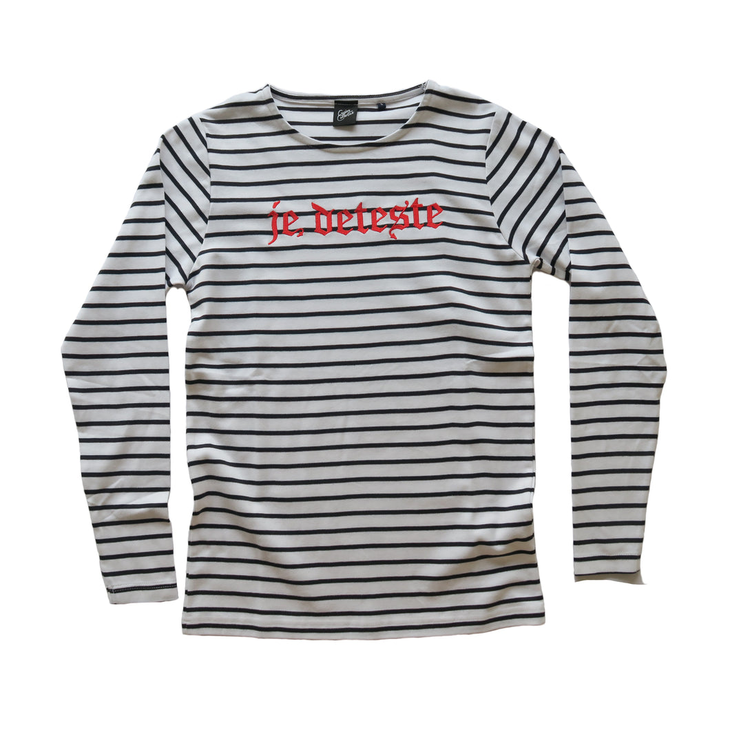 Je Deteste Embroidered Stripe Long Sleeve
