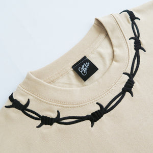 Barbed Wire Embroidered Sweater - CAMEL