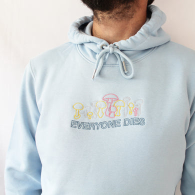 Everyone Dies Embroidered Hoodie - Sky Blue