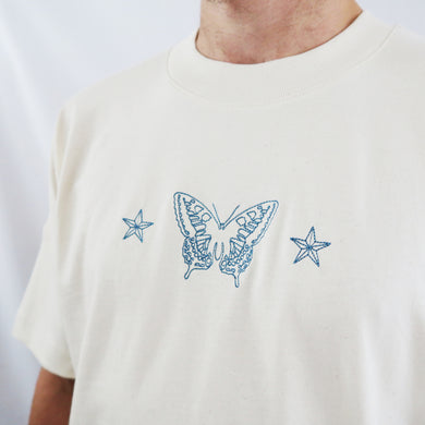 Swallowtail Embroidered T-shirt - Natural