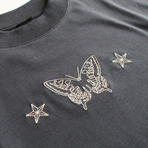 Swallowtail Embroidered T-shirt - India Ink Grey