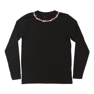 Barbed Wire Embroidered Long Sleeve T-shirt - MADE TO ORDER