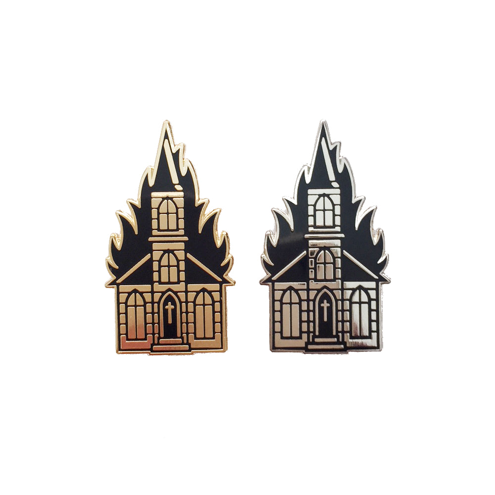 Burning Church Pin x Black Booze Illustrations