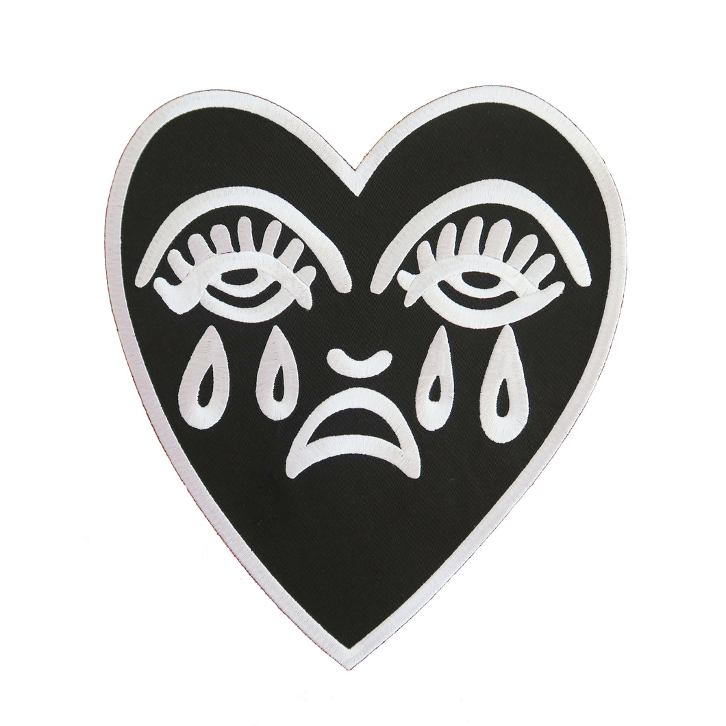 Crying Heart Back Patch - Black & White