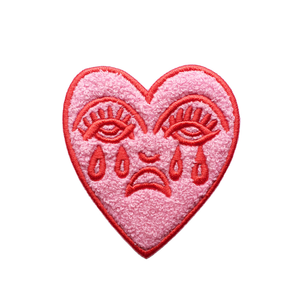 Crying Heart Chenille Patch - Pink & Red