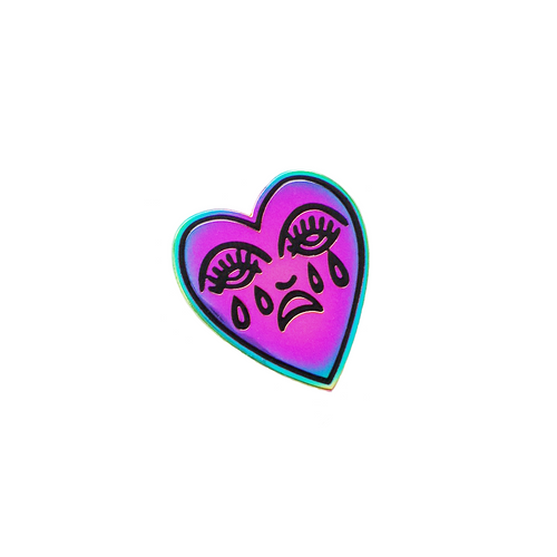 Crying Heart Pin - Rainbow