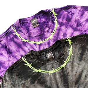 Barbed Wire Embroidered Tie Dye T-shirt - MADE TO ORDER