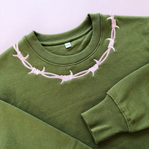 Barbed Wire Embroidered Sweater - MADE TO ORDER
