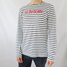 Load image into Gallery viewer, Je Deteste Embroidered Stripe Long Sleeve