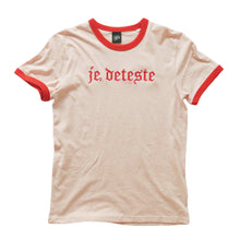 Load image into Gallery viewer, Je Deteste Embroidered Ringer T-shirt
