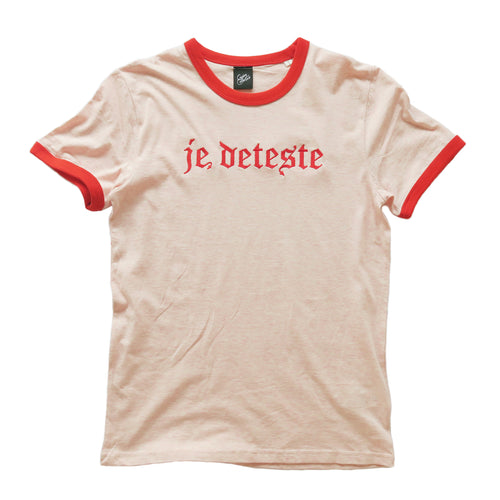 Je Deteste Embroidered Ringer T-shirt