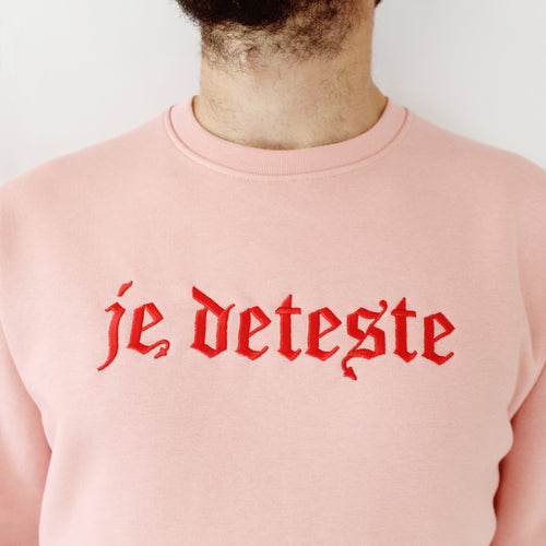 Je Deteste Embroidered Sweater - Pink