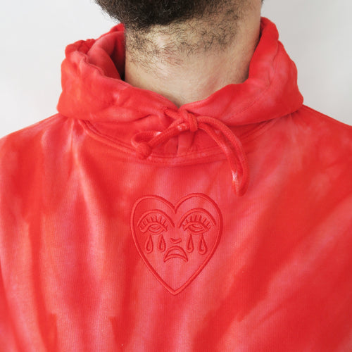 Crying Heart Embroidered Tie Dye Hoodie