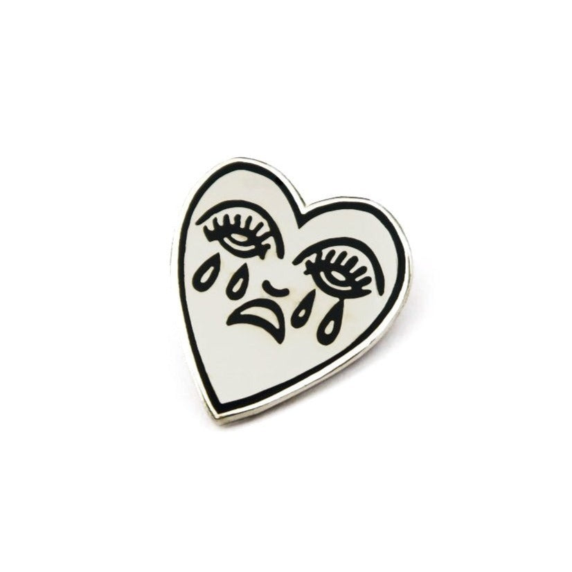 Crying Heart Pin - Silver