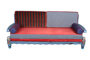 Chic Blue Distressed Sofa