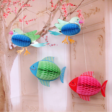 Fish and Bird Paper Hanging Lanterns