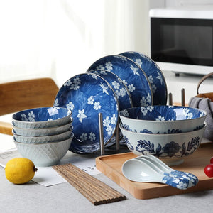 Japanese Style Blue Dishes  18 Pieces Porcelaine Tableware