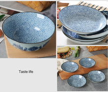 Load image into Gallery viewer, Japanese Style Blue Dishes  18 Pieces Porcelaine Tableware