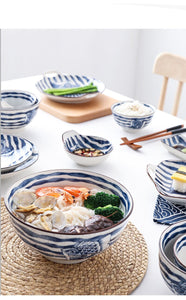 Japanese Style Plate Set Hand Painted  Porcelain