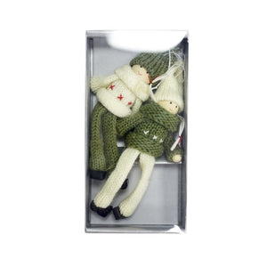 Christmas Woolen Sweater Dolls Tree Pendants  2 Pieces