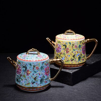 Porcelain Yellow and Blue Teapot