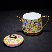 Load image into Gallery viewer, Porcelain Yellow and Blue Teapot