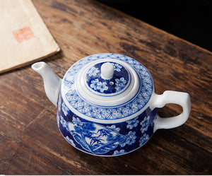 Porcelain 300ml Teapot Hand Painted Blue and White