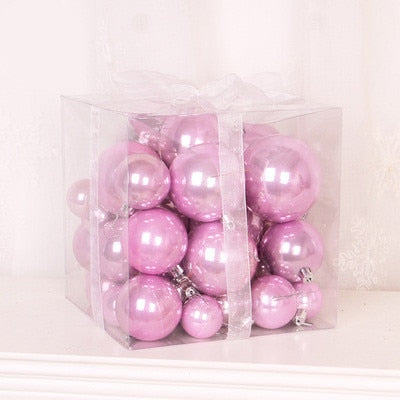 Pink  Rose Gold Pearl Christmas Balls 37 Pieces 4-8cm 3-10cm