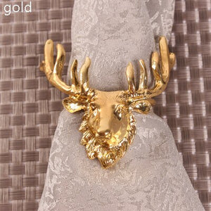 Reindeer Head Gold Plating Napkin Rings Set of 6
