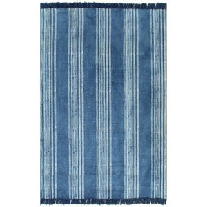 Cotton 120x180 cm Blue Stripe Kilim