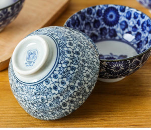 Japanese Style Blue and White Porcelain 4.3 inch Bowl