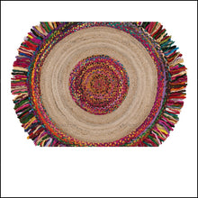 Load image into Gallery viewer, Handmade round jute carpet
