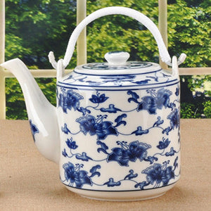 Flower Blue and White Pocelain Teapot