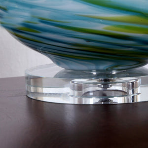 Blue Green Glass Table Lamp