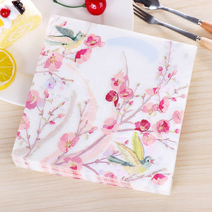 Pink Flower Painting Paper Napkins
