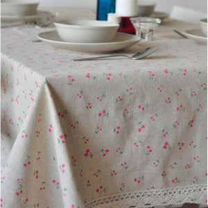 Flower Dot Pattern Lace Edge Rectangular Tablecloth