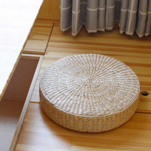 Load image into Gallery viewer, Natural Straw Weaving Round Pouf/Meditation Cushion