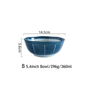 Japanese Blue Ceramic Dinner Plate, Bowl