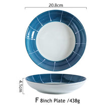 Load image into Gallery viewer, Japanese Blue Ceramic Dinner Plate, Bowl