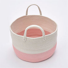 Load image into Gallery viewer, Cotton Rope Woven Laundry Basket Pompom Ornaments