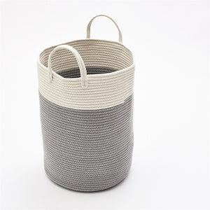 Cotton Rope Woven Laundry Basket Pompom Ornaments