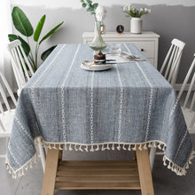 Load image into Gallery viewer, Embroidered Jacquard Striped Rectangle Tablecloth
