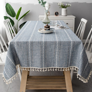 Embroidered Jacquard Striped Rectangle Tablecloth